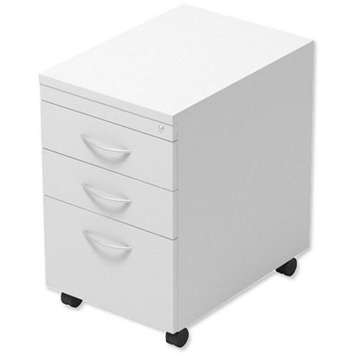 mobile filing pedestal tall under desk 3 drawer w400xd600xh674mm white