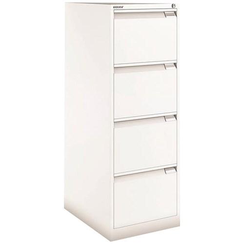 Bisley Filing Cabinet 4 Drawer Foolscap Chalk White