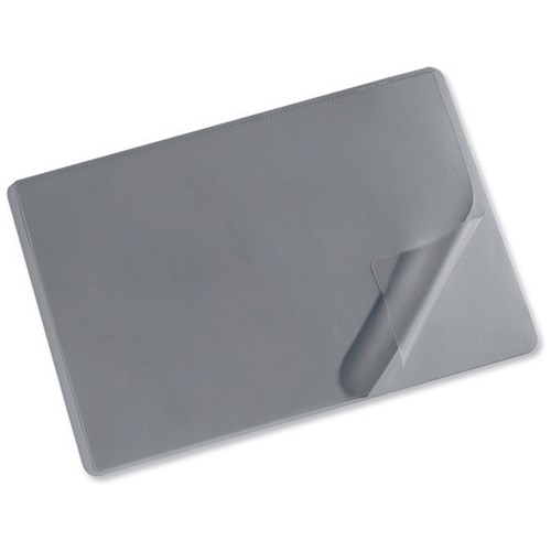 Durable Desk Mat With Transparent Overlay W650xd520mm Grey