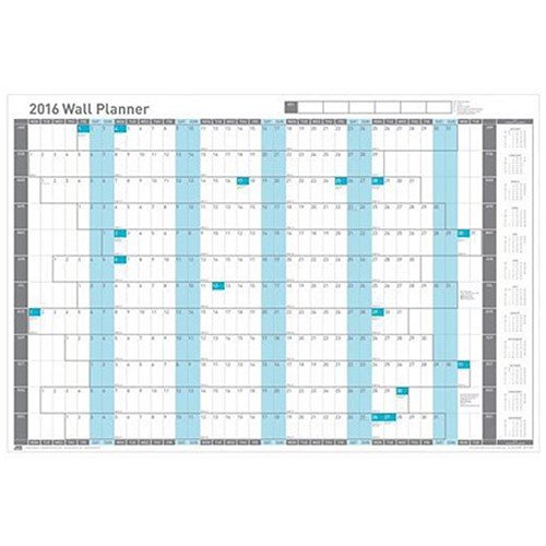 Sasco 2016 Wall Planner Mounted Grid With Highlighted