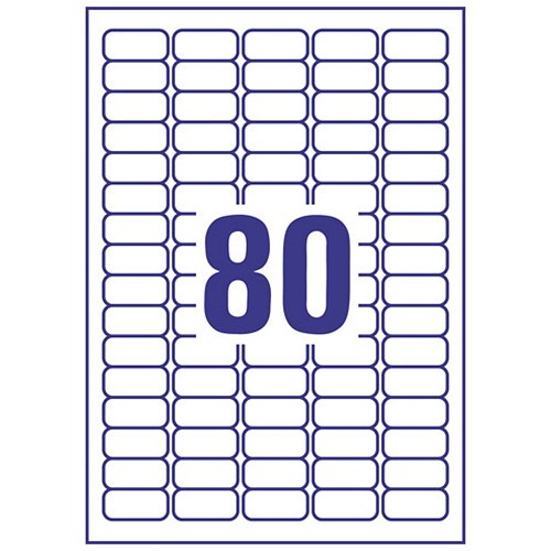 avery mini labels laser 80 per sheet white 2000 labels. Black Bedroom Furniture Sets. Home Design Ideas