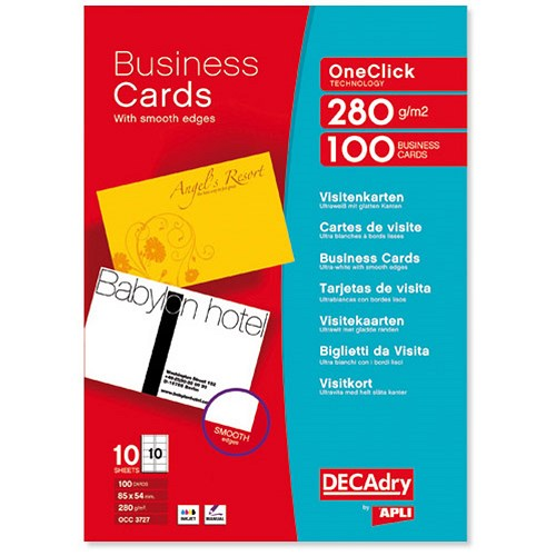 Decadry deluxe business cards snap back inkjet smooth for Decadry business card template