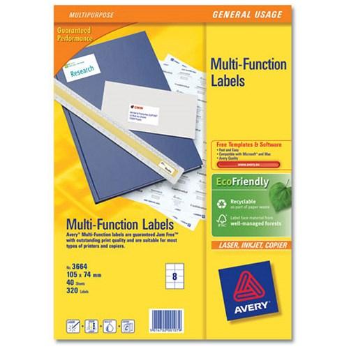 avery multifunction copier labels 8 per sheet 105x74mm white 320 labels. Black Bedroom Furniture Sets. Home Design Ideas