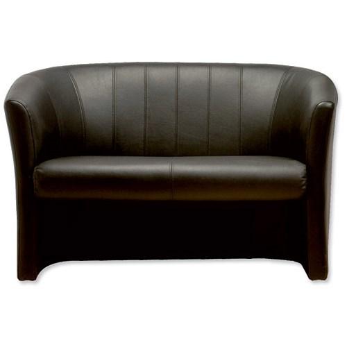 Trexus Plus Two Seat Leather Faced Tub Sofa Black