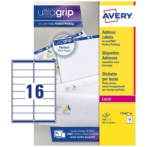 Avery Jam-free Laser Addressing Labels / 16 per Sheet / 99.1x33 ...