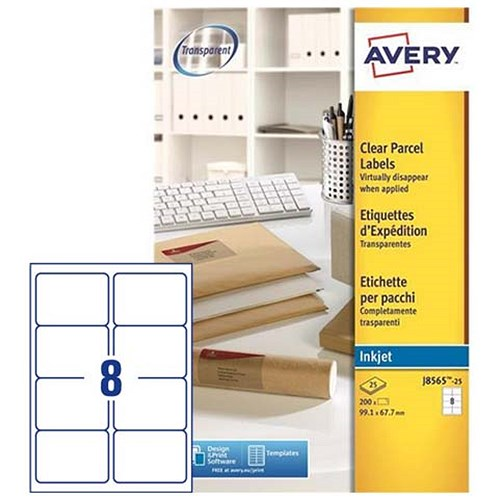 Avery Clear Addressing Labels / 8 per Sheet / 99.1x67.7mm / J8565 ...