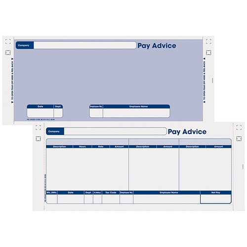 Sage Compatible Security Pay Advice Slip With File Copy / 3 Part /  W241xH102mm / Pack Of 1000