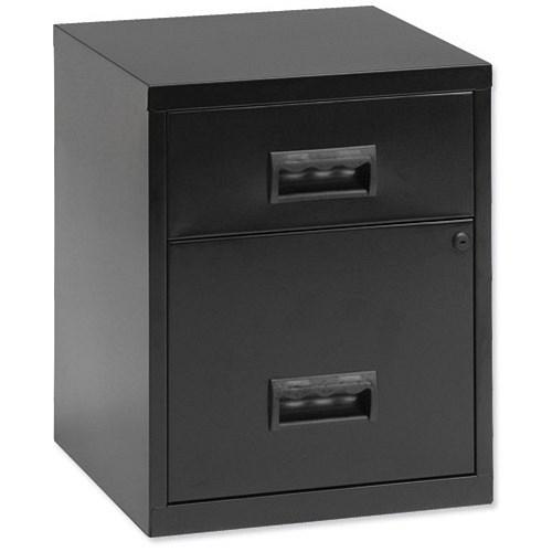 pierre henry metal filing cabinet 2 drawer a4 black. Black Bedroom Furniture Sets. Home Design Ideas