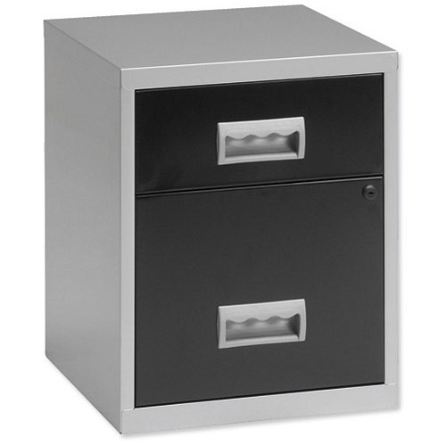 Pierre henry combi filing unit cabinet 2 drawers a4 for Black and silver cabinet