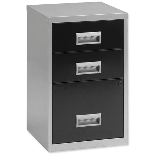 Pierre henry combi metal filing cabinet 3 drawers a4 for Black and silver cabinet