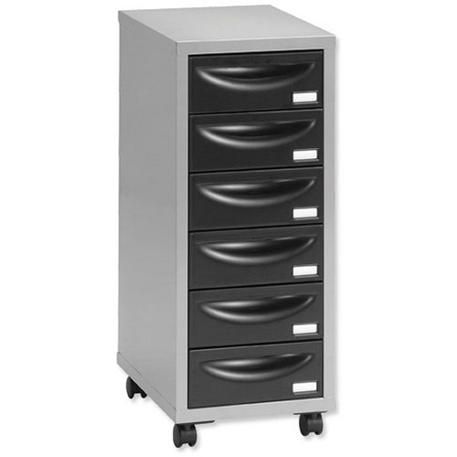 Multi drawer storage cabinet steel 6 drawers silver for Black and silver cabinet
