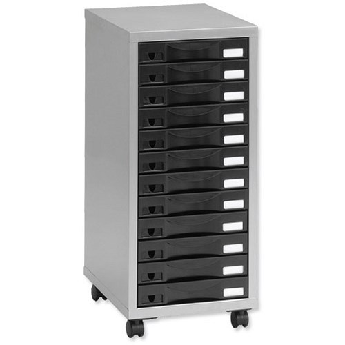 Multi drawer storage cabinet steel 12 drawers silver for Black and silver cabinet
