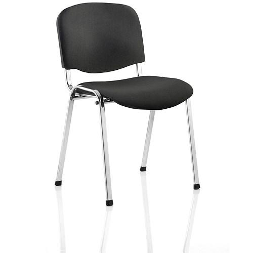 Tobago Stacking Chair Brown Chrome: Trexus Stacking Chair / Chrome Frame / Black