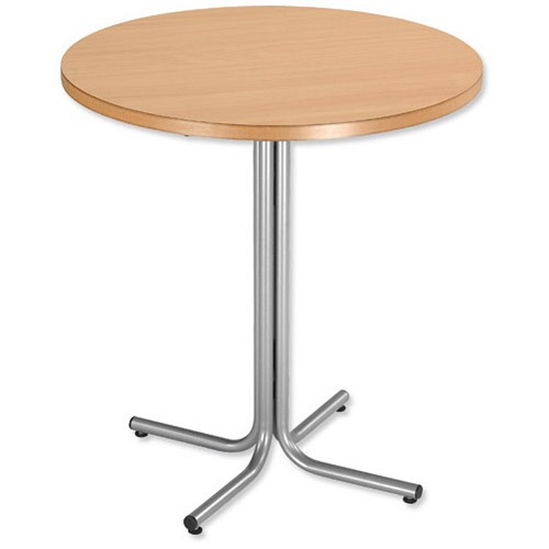Trexus Round Cafe Table Silver Effect Frame 700mm Diameter Beech