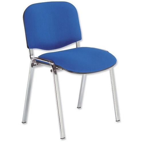 Tobago Stacking Chair Brown Chrome: Trexus Stacking Chair / Chrome Frame / Blue
