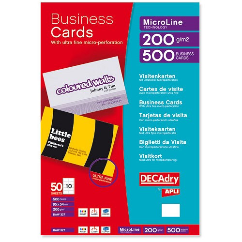 Decadry microline business cards perforated laser and for Decadry business card template