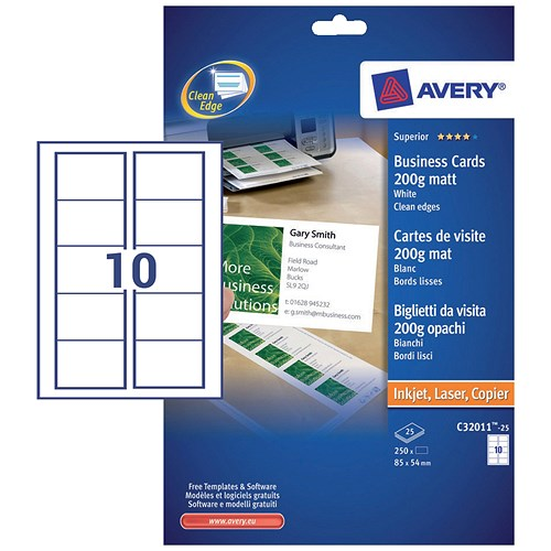 Avery Quick & Clean Laser Business Cards / 85mm X 54mm