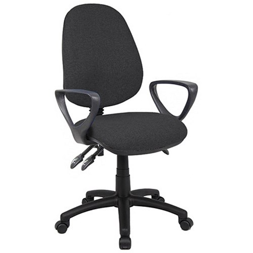 Office Furniture|Office Chairs Vantage Deluxe High Back Operator Chair With Fixed Arms - Charcoal