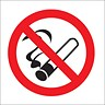 Image of No Smoking Sign for Vehicles 100x100mm White Double-Sided Self-adhesive Vinyl