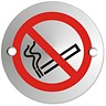 Image of No Smoking Sign 72mm Diameter Satin Anodised Aluminium