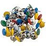 Image of 5 Star Drawing Pins with Assorted Coloured Heads - Box of 100