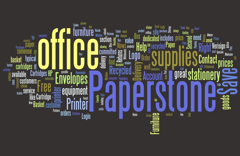 Paperstone homepage word cloud